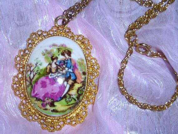 Limoges Style  Necklace /  Filigree / Pendant  / Hand Painted  Porcelain / Jewelry / Fragonard / Romantic Interlude