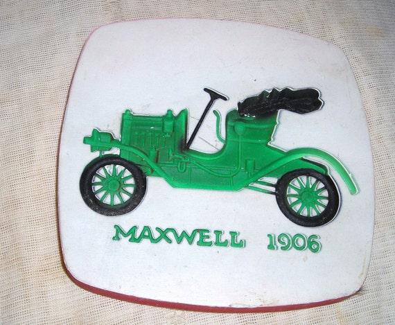 Vintage Home  Decor / Miller Studio  Chalkware   Plaque / Neon Green 1906 Maxwell Car / 60s  Kitsch