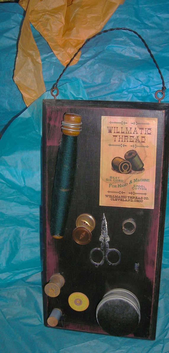 Antique Sewing Assemblage / Sewing Supplies Assemblage / Wall Decor / Sewing Room / Great  Grandma's Sewing Stuff