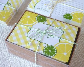 Lemon Thank You Cards / Lemonade / Gingham Thank You Cards