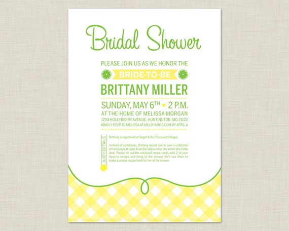 Lemon Bridal Shower Invitation / Summer Bridal Shower