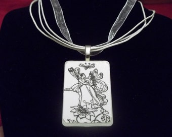 Dancing on flowers handcrafted Game Piece Necklace on voile necklace with gift bag