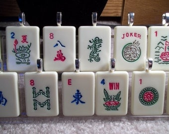 Lot of 10 Mahjong handcrafted Game Piece Pendant Necklaces of your choice on voile or leather necklace