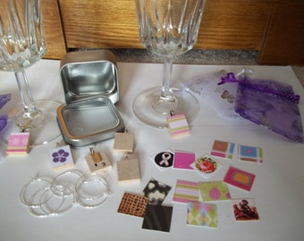 DIY Kit for Scrabble Tile Wine Charms Set of 6, plus organza gift bags
