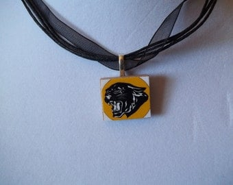 School spirit - Panther roar or paw or Proud Mom handcrafted scrabble Game Piece Necklace with gift bag