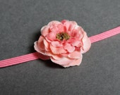 Newborn headband - Coral pink flower headband -  Baby girl headband - Photo prop