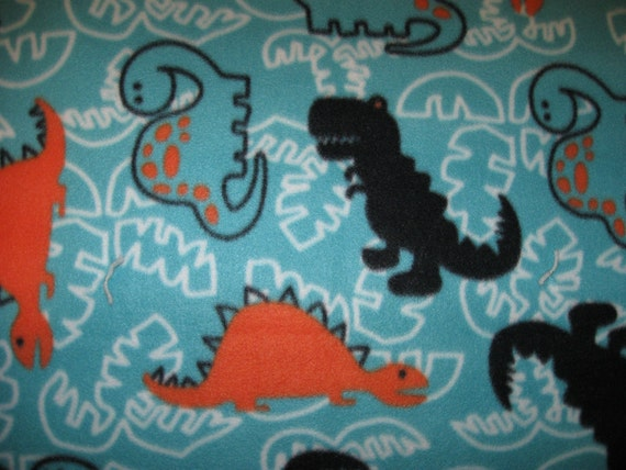 Boy's Dinosaur Blanket - Double-sided No Sew Sky Blue Fleece Twin with Ties