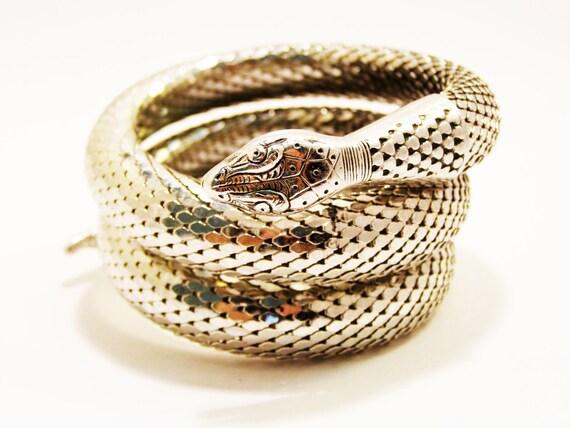 BOOK PIECE Vintage Whiting & Davis Mesh Bags Co Triple Coil Snake Bracelet in Silver