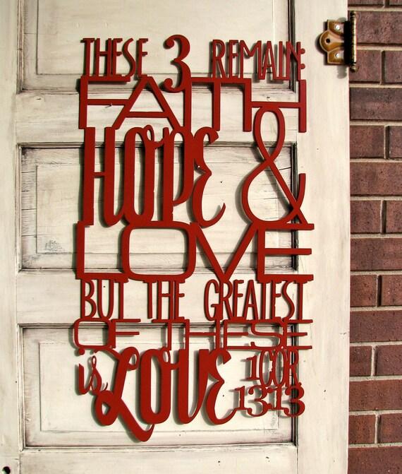 red metal scripture wall art 1 corinthians 13 13. Black Bedroom Furniture Sets. Home Design Ideas