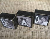 PERSONALIZED Fathers Day Gift idea Wooden Picture Blocks For Dad or Mom - Birthday / Christmas Gift SET of 3 blocks