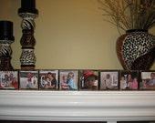 PERSONALIZED Family Last Name Photo Blocks Decorations Sign CUSTOM  Wooden Blocks SET of 8
