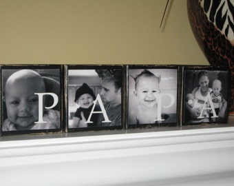 Gifts for Papa Gifts for Dad Fathers Day Gift PHOTO BLOCKS Grandparents Gift Grandpa Gift Grandma Gift Papa Gifts - Set of 4 Blocks