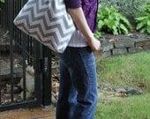 X-LARGE gray and white CHEVRON stripe zigzag Handbag/ Diaper Bag/ Purse/ Tote/ Beach Bag