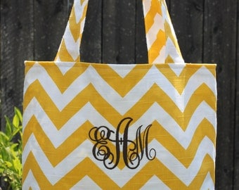 SMALL yellow and white CHEVRON stripe zigzag Handbag/ Diaper Bag/ Purse/ Tote/ Beach Bag