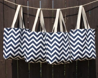 Set of 4 Large BRIDESMAIDS Gifts- navy blue and white CHEVRON stripe zigzag Handbag/ Diaper Bag/ Purse/ Tote/ Beach Bag