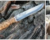 Damascus knife, forged blade, mokume gane guard