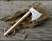 Medieval templar axe - forged keychain