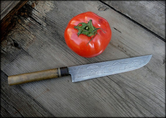 Custom kitchen knife  with etched blade