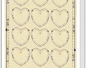 Card 'One Dozen Hearts'. Repurposed Vintage Digital Art.