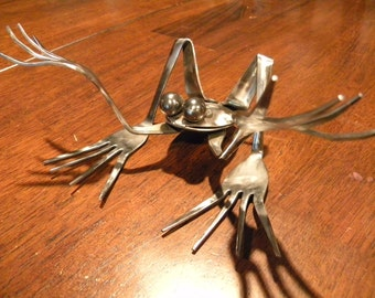 WTF Frog, repurposed silverware metal sculpture
