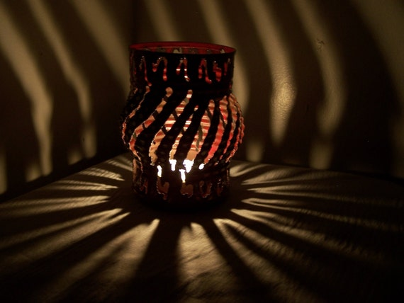 Lantern Style Candle Luminary (Weathered Red With White Dots)