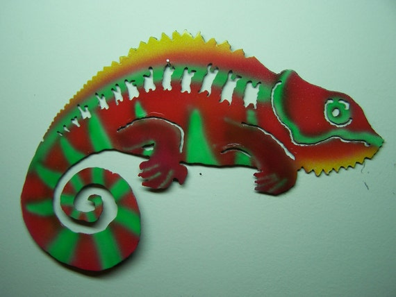 Chloe the Chameleon Recycled Metal Wall Sculpture