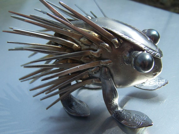 Metal Table Art, For SOS, Forkupine, porcupine, spoon art metal, spoon art sculpture, spoonie, thank you gift for friend, porcupine quills,