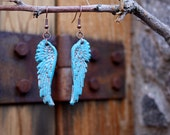 Angel Wings Earrings- Turquoise polymer clay