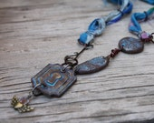 Sari silk and Polymer clay Key hole necklace, blue and brown