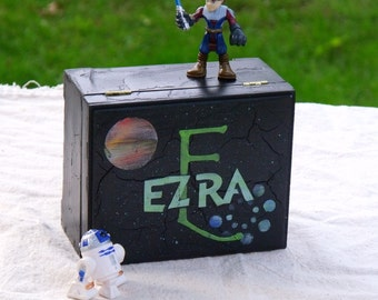 Personalized Trinket Box for Boys, Star Wars Outer Space, RB/TR