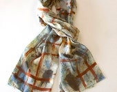 Hand painted Silk scarf in soft blues and rust