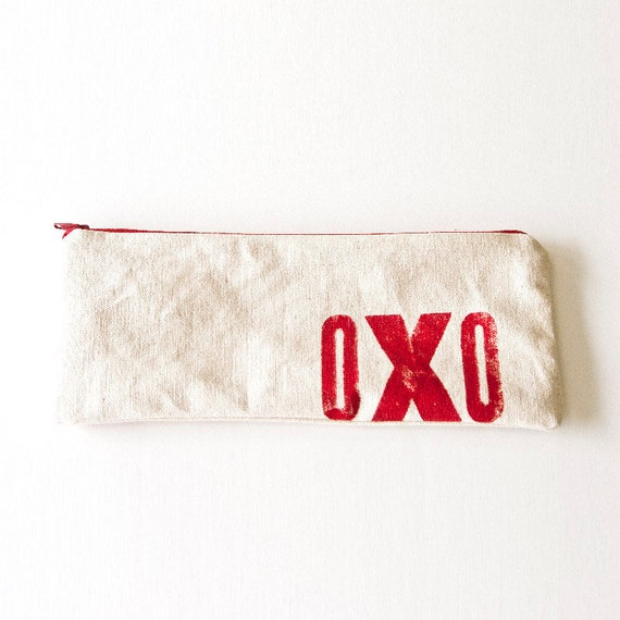 """Red """"Hug & Kiss"""" Large Pencil case on cotton canvas - block printed lined zippered bag"""