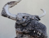 Aegean driftwood sculpture, Minotavros (Minotaur) from Lesvos Island Greece