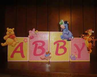 WINNIE THE POOH Disney Custom Name Kids/Baby Room Wood Blocks