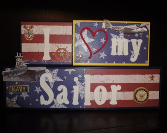 I love my Sailor Custom Military Marines AirForce Navy Army Home Decor Room Wood Blocks