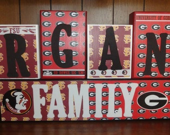 Custom College Football Sport Team Family Name Home Decor Room Wood Blocks