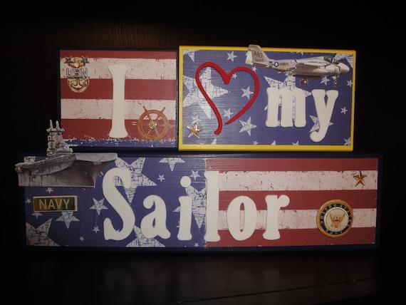 I love my Sailor Custom Military Marines AirForce Navy Army Home Decor Room Wood Blocks