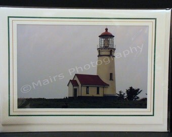 Lighthouse, Fog, Masculine, Red & White, FATHERS DAY, All Occasion, Blank Greeting Card, Photo Card