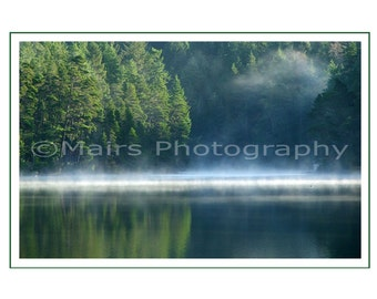 Father's Day, Blues Greens Serene Mist Fog Quiet Lake Early Morning, Masculine, Eco-Friendly All Occasion, Blank Greeting Card, Photo Card