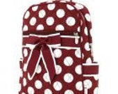 Personalized Quilted Large Polka Dots Medium Zippered Backpack Monogrammed