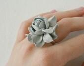 Light grey rose flower leather ring