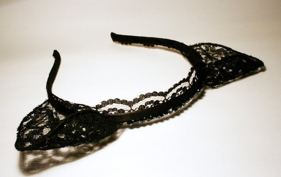 Black lace cat ears headband - Made to Order