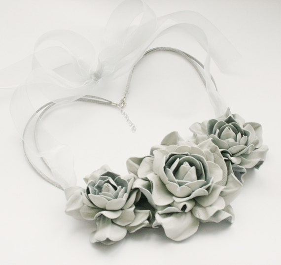 Light grey leather floral bib necklace - Made to order