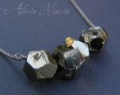 Stonehenge - Faceted Pyrite Nugget Necklace in Oxidized Silver