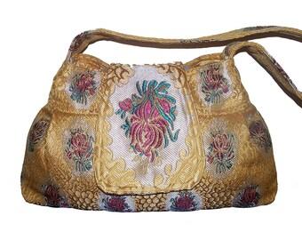 7- Bag, Purse,Floral, color yellow gold