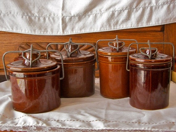 brown ceramic canisters vintage collection of four by