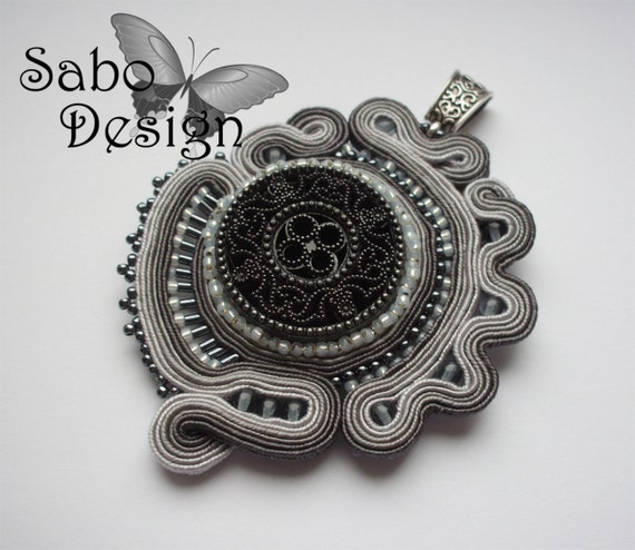 SHADES OF GRAY - soutache pendant, handmade, embroidered in dark gray and light gra satin strips. Perfect gift - oaak.