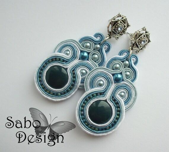MILO -  soutache earrings, handmade, embroidered in teal, light blue and white satin strips, TOHO, oaak.