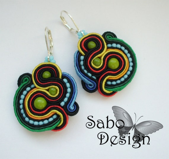 CUZCO -  soutache earrings, handmade, embroidered in black, red, yellow, green, blue satin strips, TOHO, oaak gift for her under 50