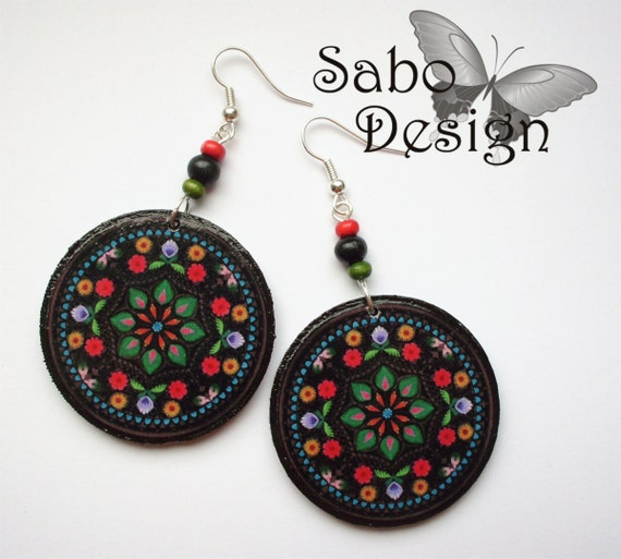 POLISH FOLK earrings, decoupaged in black, red, green, orange, colorful flowers, perfect gift